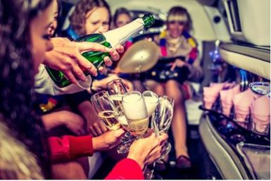 New Years eve party with champagne on the party bus in Green Bay, WI